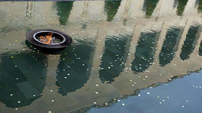 Royalty-Free and Rights-Managed Images - Eternal Flame and the Pool of Reflection, Australian War Memorial by Joe Vella