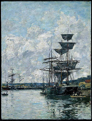 Ballerina Art - Eugene Boudin 1824 1898   Ships at the Havre 1887 by Artistic Rifki