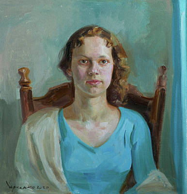 Painting - Eva in light blue by Victoria Kharchenko