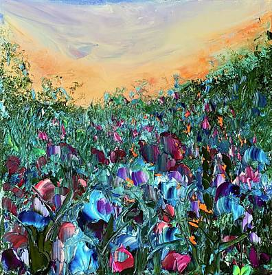 Painting - Evening Flower Fields  by Julia S Powell