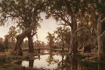 Art History Meets Fashion - Evening shadows, backwater of the Murray, South Australia by Henry Johnstone