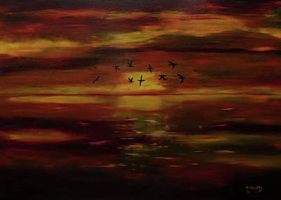 Target Threshold Watercolor - Evening Sunset by Mark Fluharty