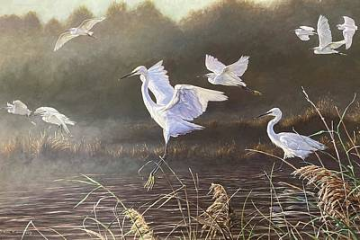 Animals Paintings - Everglade Egrets by Alan M Hunt