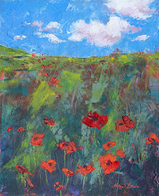 Painting - Everything's Coming Up Poppies by Mary Benke