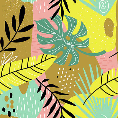 Royalty-Free and Rights-Managed Images - Exotic collage. seamless pattern with tropical plants leafs and paint strokes.  by Julien