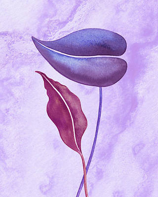 Royalty-Free and Rights-Managed Images - Exotic Couple Purple Watercolor Leaves  by Irina Sztukowski