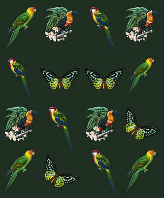 Bath Time - Exotic Jungle Design Toucans Butterflies Parrots On Green by Johanna Hurmerinta