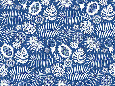 Royalty-Free and Rights-Managed Images - Exotic pattern. Tropical seamless deep blue and white background.  by Julien