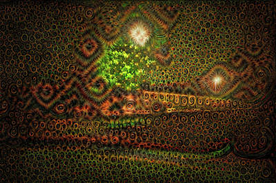 Surrealism Royalty-Free and Rights-Managed Images - Eyes in the Night surreal trippy Deep Dream by Matthias Hauser
