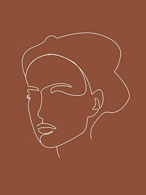 Royalty-Free and Rights-Managed Images - Face 01 - Abstract Minimal Line Art Portrait of a Girl - Single Stroke Portrait - Terracotta, Brown by Studio Grafiikka