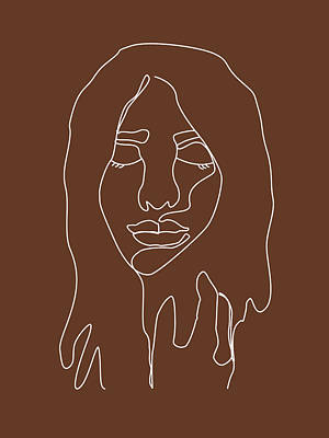 Royalty-Free and Rights-Managed Images - Face 02 - Abstract Minimal Line Art Portrait of a Girl - Single Stroke Portrait - Terracotta, Brown by Studio Grafiikka