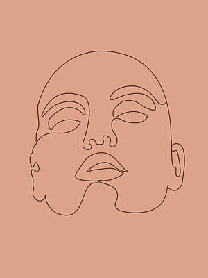 Royalty-Free and Rights-Managed Images - Face 03 - Abstract Minimal Line Art Portrait of a Girl - Single Stroke Portrait - Terracotta, Brown by Studio Grafiikka