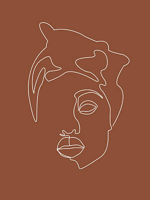 Royalty-Free and Rights-Managed Images - Face 04 - Abstract Minimal Line Art Portrait of a Girl - Single Stroke Portrait - Terracotta, Brown by Studio Grafiikka