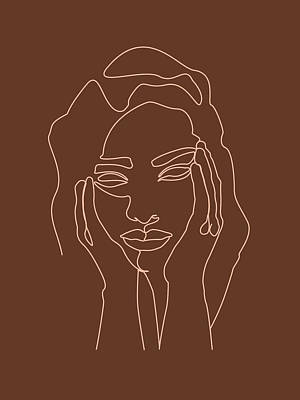 Royalty-Free and Rights-Managed Images - Face 05 - Abstract Minimal Line Art Portrait of a Girl - Single Stroke Portrait - Terracotta, Brown by Studio Grafiikka