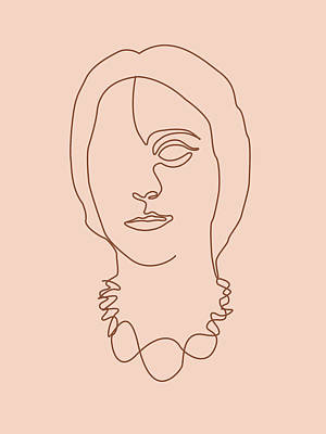 Royalty-Free and Rights-Managed Images - Face 06 - Abstract Minimal Line Art Portrait of a Girl - Single Stroke Portrait - Terracotta, Brown by Studio Grafiikka
