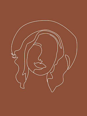 Royalty-Free and Rights-Managed Images - Face 07 - Abstract Minimal Line Art Portrait of a Girl - Single Stroke Portrait - Terracotta, Brown by Studio Grafiikka