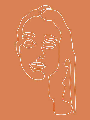Royalty-Free and Rights-Managed Images - Face 08 - Abstract Minimal Line Art Portrait of a Girl - Single Stroke Portrait - Terracotta, Brown by Studio Grafiikka