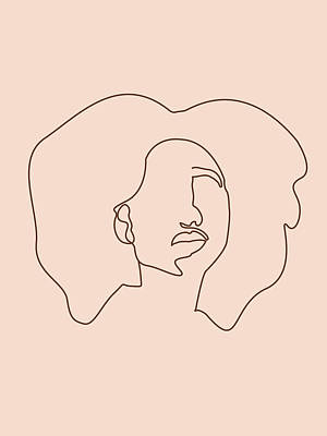 Royalty-Free and Rights-Managed Images - Face 09 - Abstract Minimal Line Art Portrait of a Girl - Single Stroke Portrait - Terracotta, Brown by Studio Grafiikka
