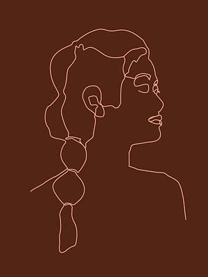Royalty-Free and Rights-Managed Images - Face 10 - Abstract Minimal Line Art Portrait of a Girl - Single Stroke Portrait - Terracotta, Brown by Studio Grafiikka