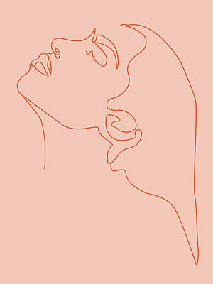 Royalty-Free and Rights-Managed Images - Face 11 - Abstract Minimal Line Art Portrait of a Girl - Single Stroke Portrait - Terracotta, Brown by Studio Grafiikka