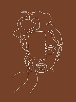 Royalty-Free and Rights-Managed Images - Face 12 - Abstract Minimal Line Art Portrait of a Girl - Single Stroke Portrait - Terracotta, Brown by Studio Grafiikka