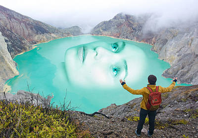 Surrealism Digital Art - Face of A Woman On the Lake Surreal by Barroa Artworks