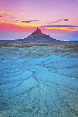 David Bowie Royalty Free Images - Factory Butte Twilight Vertical Royalty-Free Image by Johnny Adolphson