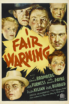 Mixed Media Royalty Free Images - Fair Warning, with Edward Bromberg, 1937 Royalty-Free Image by Stars on Art
