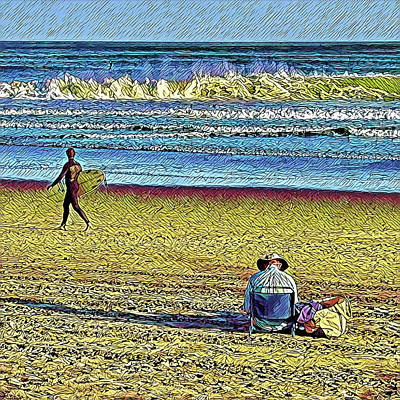 Surrealism Royalty-Free and Rights-Managed Images - Fall Beach Day by Surreal Jersey Shore