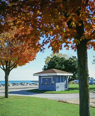 Photograph - Fall Blue Shack at McKinley Beach by Vincent Buckley