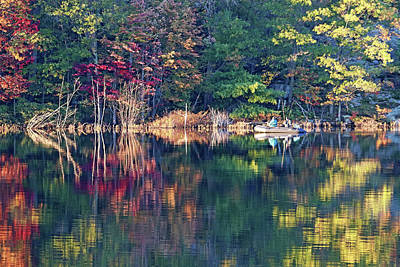 Old Masters - Fall Fishing On The Moon River by Debbie Oppermann