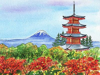 Royalty-Free and Rights-Managed Images - Fall In Japan Mountain Fuji And Chureito Pagoda Painting  by Irina Sztukowski