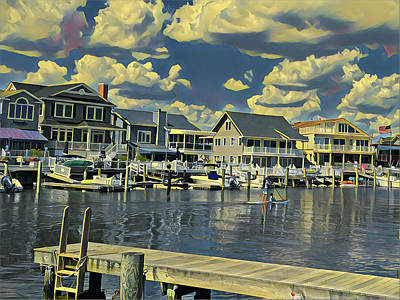 Surrealism Royalty-Free and Rights-Managed Images - Family Paddleboarding Time by Surreal Jersey Shore