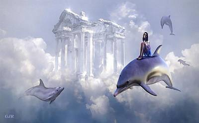 David Bowie - Fantasy Art - Fantasy Travel With Dolphins L A S by Gert J Rheeders