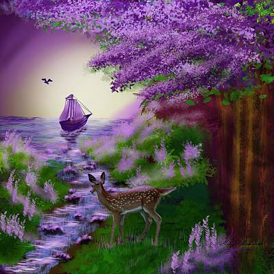 Outdoor Graphic Tees - Fantasy Forest Sail by Gary F Richards