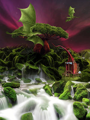 Fantasy Royalty-Free and Rights-Managed Images - Fantasy landscape with green dragons by Mihaela Pater