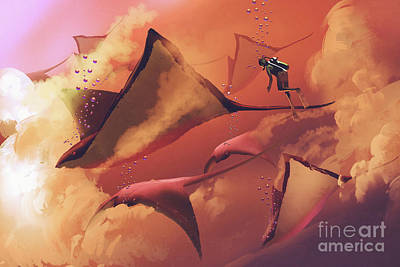 Abstract Airplane Art - Fantasy Mantas by Tithi Luadthong