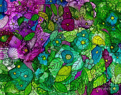 Priska Wettstein Land Shapes Series - Fantasy Zen Flowers in Alcohol Ink by Conni Schaftenaar