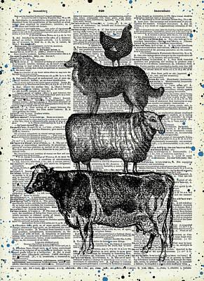 Animals Digital Art - Farm animals 2 by Mihaela Pater