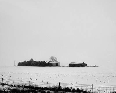 Railroad - Farm in snowy field by John Unwin