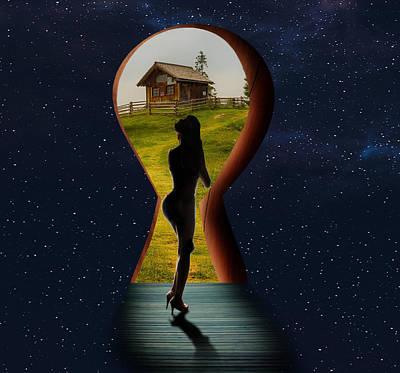 Surrealism Digital Art - Farmhouse Keyhole and Woman Surreal by Barroa Artworks