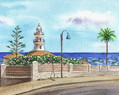 Studio Grafika Zodiac - Faro De Cullera Lighthouse Town Of Valencia Sea Shore Watercolor  by Irina Sztukowski