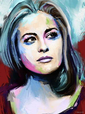 Modern Sophistication Line Drawings Royalty Free Images - Faye Dunaway painting Royalty-Free Image by Stars on Art