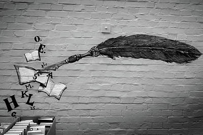 Surrealism Royalty-Free and Rights-Managed Images - Feather and Books Painted on a Wall by Mark Robert Davey
