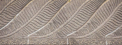 Featured Tapestry Designs - Feather Like Lined Pattern In Stone Pathway by David Ridley