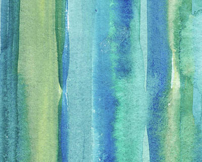 Royalty-Free and Rights-Managed Images - Feeling Ocean And Sea Beach Coastal Art Organic Watercolor Abstract Lines II by Irina Sztukowski
