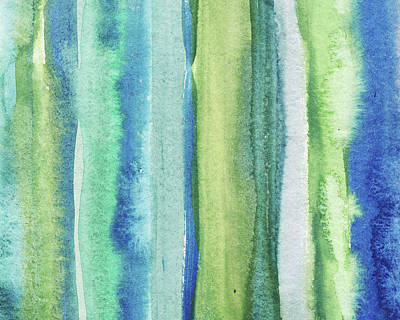 Royalty-Free and Rights-Managed Images - Feeling Ocean And Sea Beach Coastal Art Organic Watercolor Abstract Lines IV by Irina Sztukowski