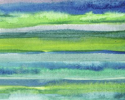 Royalty-Free and Rights-Managed Images - Feeling Ocean And Sea Beach Coastal Art Organic Watercolor Abstract Lines V by Irina Sztukowski