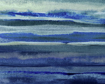 Royalty-Free and Rights-Managed Images -  Feeling Ocean And Sea Beach Coastal Art Organic Watercolor Abstract Lines VI by Irina Sztukowski