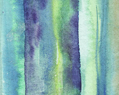 Royalty-Free and Rights-Managed Images - Feeling Ocean And Sea Beach Coastal Art Organic Watercolor Abstract Lines VIII by Irina Sztukowski